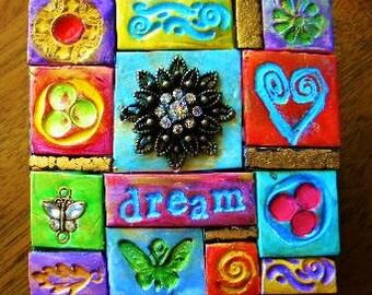 Trinket box, decorated box, polymer clay mosaic, keepsake box, intention box, prayer box, God box
