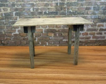 Dollhouse miniature furniture in twelfth scale or 1:12 scale.  Rustic table.   Item #370.
