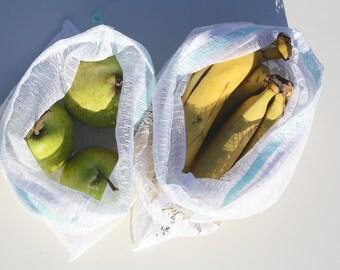 SECONDS SALE Veggie Bag, Produce Bag, Eco Friendly Kitchen, Hippie Mom, Market Bags, Reusable Produce Bag, Fruit and Veggies, Eco Shopping B