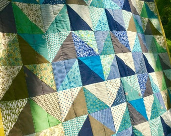 Fire on the mountain full size quilt machine pieced hand quilted