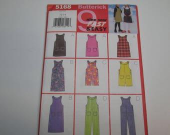 Butterick Pattern 5168 Vintage 1997 UNCUT size 12-14 girls jumper and jumpsuit