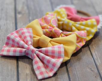 Pink Lemonade/Summer Bows/Pink and Yellow Pink Lemons/Pink and Yellow Gingham