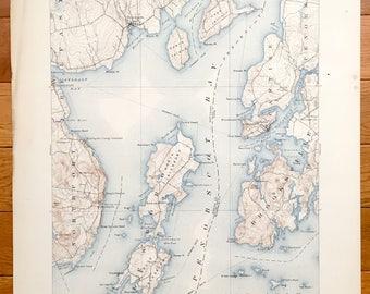 Antique Penobscot Bay, Maine 1904 US Geological Survey Topographic Map – Northport, Searsport, Castine, Brooksville, Deer Isle, Islesboro
