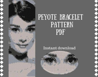 Audrey Pattern Seed Bead Bracelet Beaded Peyote Bracelet patterns cuff beadwork bracelet peyote stitch diy jewelry Beadwork chart Beads DIY