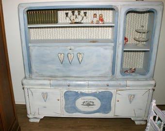 Vintage Schreibschrank Mit Vitrine In Shabby Chic Landhaus Bauernhaus Herz  Blumen Romantisch Weiß Taubenblau