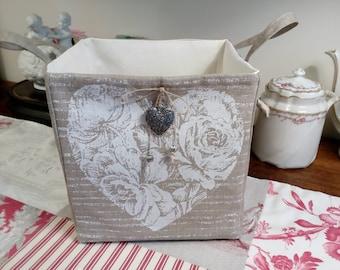 linen or tidy, Valentine heart basket