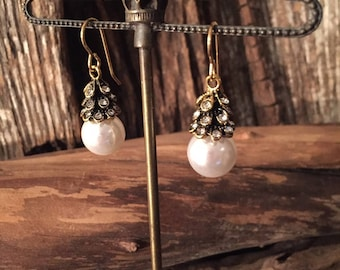 Antique Gold & Rhinestone Topped Pearl Drop Earrings