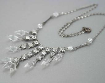Stunning Edwardian - Art Deco Crystal Filigree Necklace Delicate 1920s 1930s Vintage
