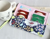 Floral Blue Tea Wallet organizer, travel tea holder fabric pouch, Tea pouch holder, handmade fabric tea pouch