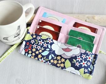 Floral Blue Tea Wallet organizer, travel tea holder fabric pouch, Tea pouch holder, handmade fabric tea pouch