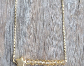 Gold plated necklace with Citrine