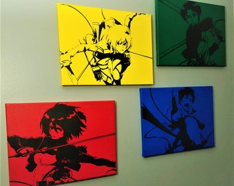 Full Set of Four - Attack on Titan Hand Painted Acrylic on Stretched Canvas - Eren, Mikasa, Armin, Levi