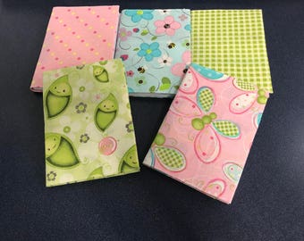 Free Shipping!! Set of five fabric covered mini journals in cute pastel designs great for party or shower favors