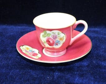 Small Tea Cup and Saucer  Demitasse Tea Cup and Saucer - Made in Japan - Deep Magenta Color - White Interior - Gold Trim  TeaCup and Saucer