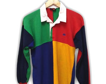 Hot Sale!!! Rare Vintage 90s CANTERBURY UGLY Multicolor Polo Rugby Shirt Hip Hop Skate Swag Made In New Zealand Medium Size