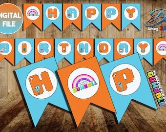 """Amazing world of Gumball Banner """"Happy Birthday"""", Gumball Party, Gumball Birthday, Amazing world of Gumball, Darwin"""