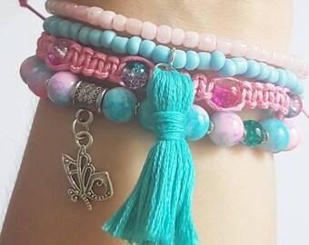Butterfly set of 4 bracelets