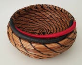 Petite Pine Needle Basket - Hand stitched with Black Walnut slice and rope edge - Earrings, rings, necklace - Made in Florida USA - 25.00