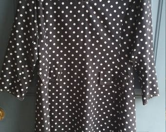 60s vintage black and white polka dot dress
