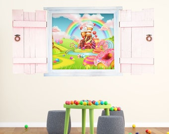 025 Candyland wall sticker in the window with shutters