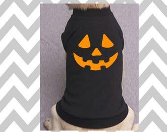 Pumpkin Face Jack-O-Lantern Dog Shirt Halloween Sweatshirt Scary Pumpkin Face Halloween Pumpkin Face Tee Halloween Dog Costume