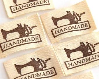 10 labels printed cotton machine E201601 25x49mm