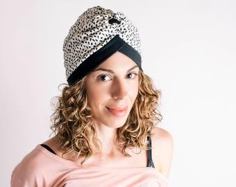 turban headgear black & white