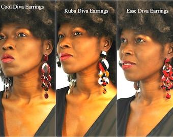 African Earrings, Ankara Earrings, Africa Earrings, Kuba Cloth Earrings, Ankara Drop Earrings -, Ankara Earrings, Ankara Chandelier Earrings