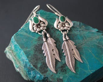 Feather Sterling Silver Malachite Earring