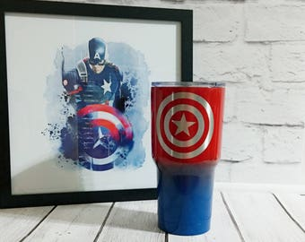 Powder coated superhero cup/captain america custom cup/custom design powder coated tumbler/30oz custom cup/personalized powder superhero cup