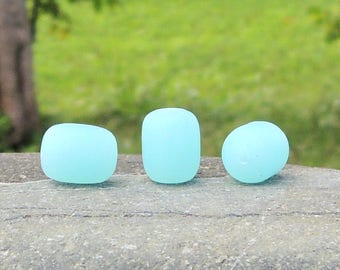Cultured sea glass barrel nugget beads Opaque seafoam blue, 13x10 mm, 13 pc