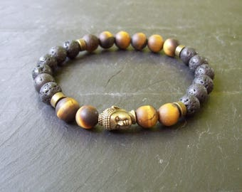 Mens bracelet - Chakra bracelet - Mala Bracelet - Man's bracelet - Mixed beads man's bracelet - Yoga bracelet - Gift for him - Tiger's Eye