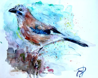 Jay Bird Painting, Giclee Print, Watercolour, coloured pencil, artwork