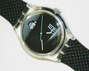 Swatch Eclipse vintage plastic automatic conversion self winding watch with no battery