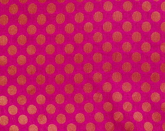 Half Yard of Pink and Golden Bold Dotted Brocade Silk Fabric by the yard