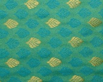 10% Off On Half Yard of Green and Light Blue and Golden Leaves Pattern Brocade Silk Fabric, Brocade Silk, Brocade Fabric