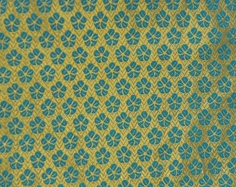 SALE 15% Free Shipping Half Yard Of Golden and Blue Small Flower Pattern Brocade Silk Fabric-8058