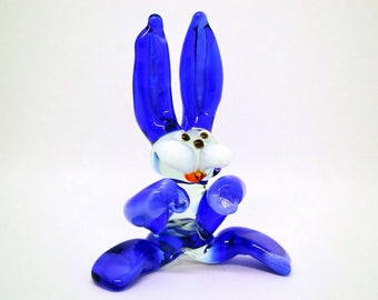 Blue Glass rabbit figurine animals glass rabbit sculpture glass rabbit gifts toy murano animals lampwork figure glass gift home decor