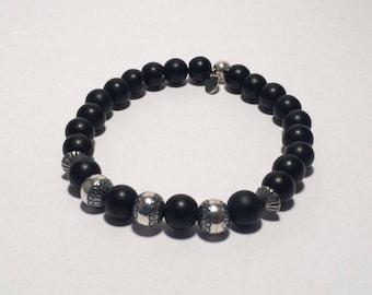 Men's bracelet in solid 925 sterling silver, Onyx matte Biker