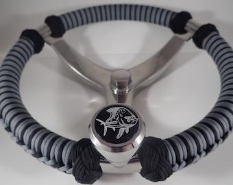 Gemlux  Boat steering wheel, Stainless Steel, paracord wrapped, with steering wheel knob insert