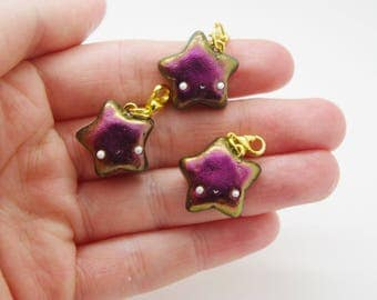Polymer clay, handmade, colour-shifting, kawaii, star charm, fashion accessory