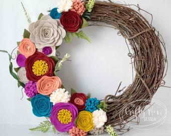 Felt Flower Wreath    Grapevine Wreath    Front Door Wreath    Mantel Wreath    Nursery Decor    Floral Decor