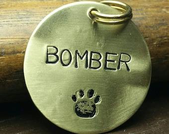 "1"" Custom Pet ID Tag - Hand Stamped Copper/Brass/Aluminum"