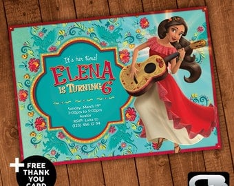 Elena of Avalor Invitation with Free Thank You Card - Elena of Avalor Invite - Birthday Party - Digital File Download - Printable