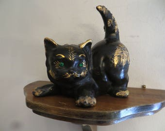 Cat Figurine Pottery Texture Black, Gold, Green Eyes & Old w/free ship