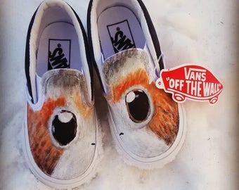 Porg Star Wars Handpainted Toddler Vans Slip-ons