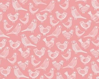 "Fabric Remnant - Flock in Pink - First Light - Cloud 9 Organics - 14""x42"""