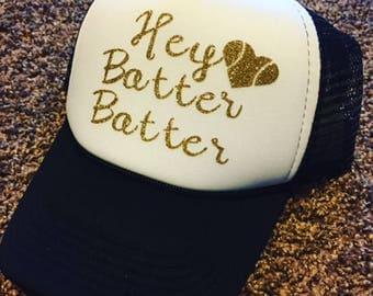 Hey Batter Batter Hat  |  Trucker Hat  |  Baseball Mom Hat  |  Softball Mom Hat  |  Sports Mom Hat  |  Team Mom Gift  | Hats for Mom