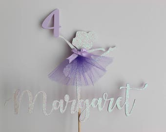 Ballerina Cake Topper, Ballerina, Princess Cake Topper, Ballerina Glitter Cake Topper
