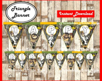 Where The Wild Things Are Banner, printable Where The Wild Things Are party Banner, Where The Wild Things Are triangle Banner